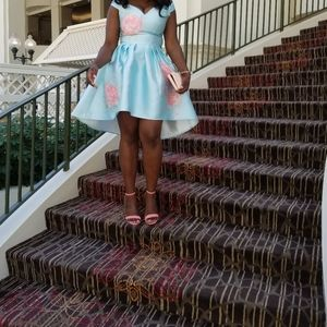 Off shoulder floral sky blue dress